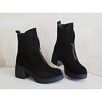 Женские демисезонные ботинки черная замша