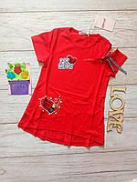 Футболка летняя на девочку с открытым плечом 7-8лет Красная