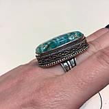 Амазонит овальное кольцо с амазонитом в серебре. Природный амазонит 17,5 размер Индия, фото 2