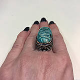 Амазонит овальное кольцо с амазонитом в серебре. Природный амазонит 17,5 размер Индия, фото 3
