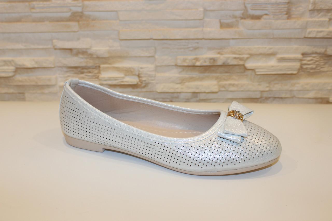 Балетки туфли женские серебристые с бантиком код Т249