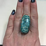 Амазонит овальное кольцо с амазонитом в серебре. Природный амазонит 17,5 размер Индия, фото 4