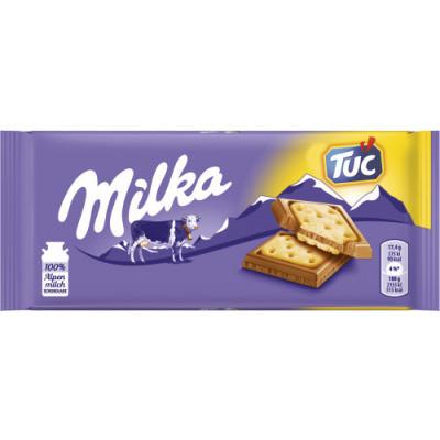 Молочний шоколад з cолоним крекером Milka Tuc 87 г