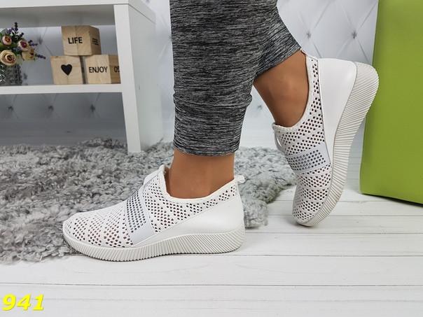 Женские текстильные дышащие кроссовки слипоны белые