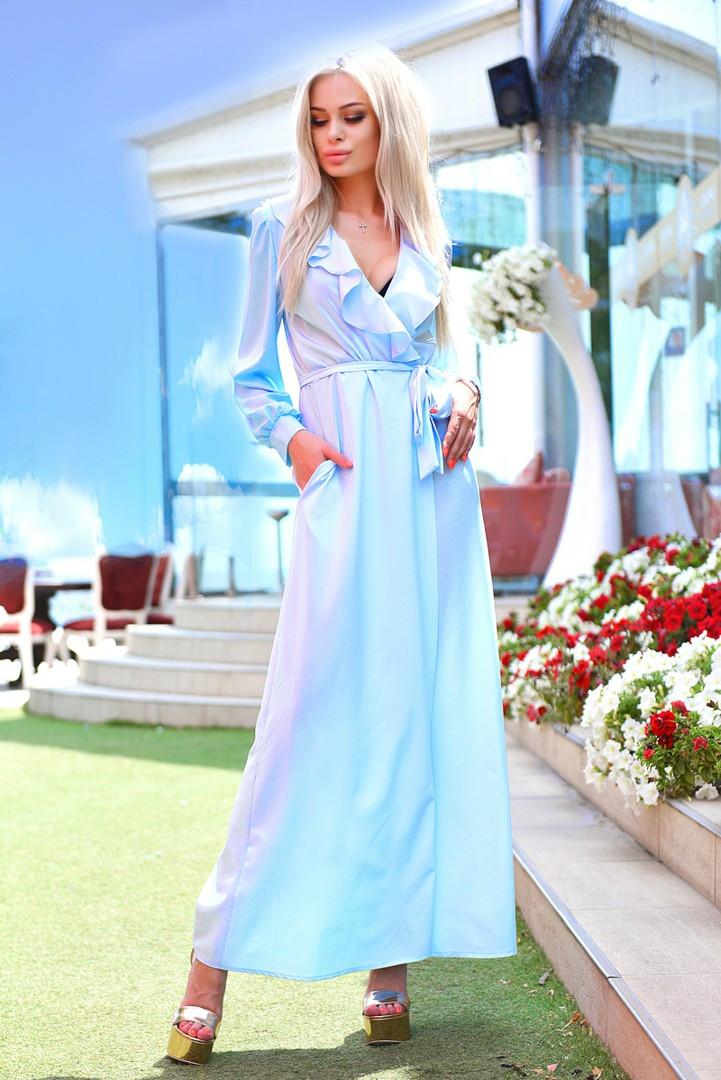 Женское длинное платье халат с рюшем 42 44 46
