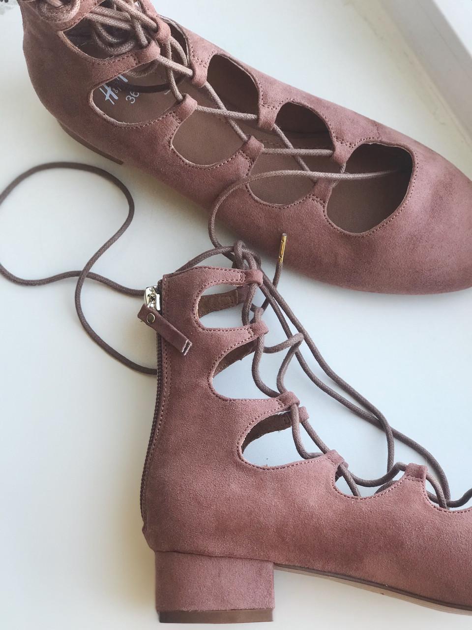 Замшевые балетки H&M на шнуровке