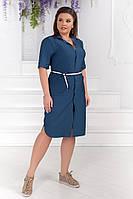 """Джинсовое платье-рубашка  на пуговицах """"Hanna"""" с поясом и карманами (большие размеры)"""