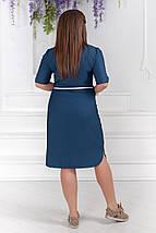"""Джинсовое платье-рубашка  на пуговицах """"Hanna"""" с поясом и карманами (большие размеры), фото 3"""