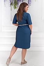 """Джинсовое платье-рубашка  на пуговицах """"Hanna"""" с поясом и карманами (большие размеры), фото 2"""