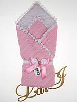 """Вязаный демисезонный конверт-одеяло """"Змейка"""" розовый"""