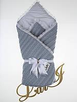"""Вязаный демисезонный конверт-одеяло """"Змейка"""" серый"""