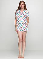 Женская хлопковая пижама с шортами и рубашкой отложной воротник кексы капкейки