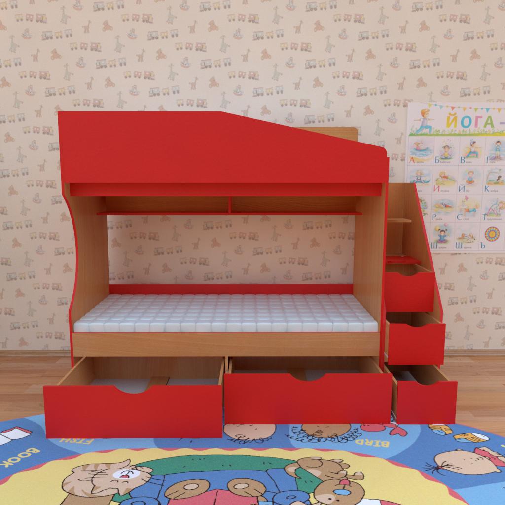 """Двухъярусная кровать для детской  """"Джунгли"""". Кровати для детских комнат"""