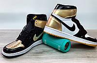 Кроссовки мужские Nike Air Jordan Retro в стиле Найк Джордан,натуральная кожа код4S-1181.Черно-белые с золотым