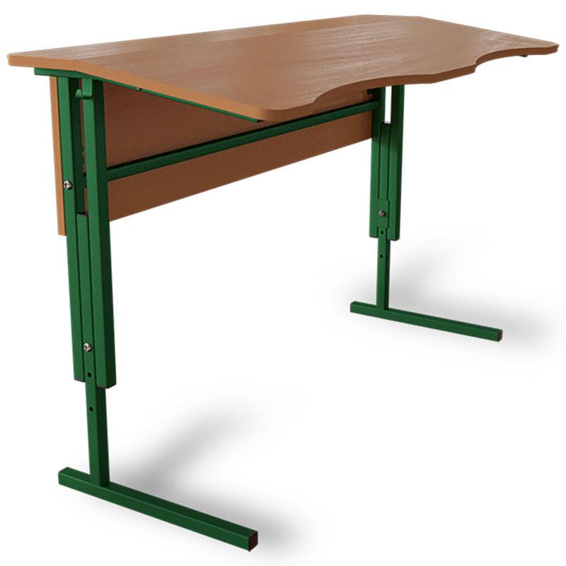 Антисколиозный стол Аудиторный ученический, регулируемый по высоте с царгой 2-х местный