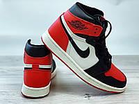 Кроссовки мужские Nike Air Jordan Retro в стиле Найк Джордан,натуральная кожа код4S-1187.Черно-красные с белым