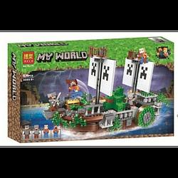 "Конструктор Minecraft Bela 11139 ""Битва на річці"" Битва на кораблі, 630 деталей."