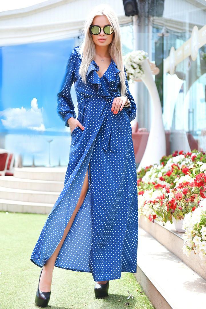 Жіноче плаття халат максі в горошок 42 44 46