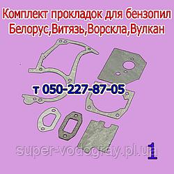 Комплект прокладок для бензопилы Белорус, Витязь, Ворскла, Вулкан