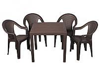 Комплект садовой мебели стол King + 4 кресла Ischia пластик Коричневый (ОСТ-ФРАН ТМ)