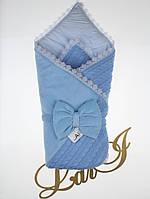 """Детский демисезонный конверт-одеяло """"Дуэт"""", голубой"""