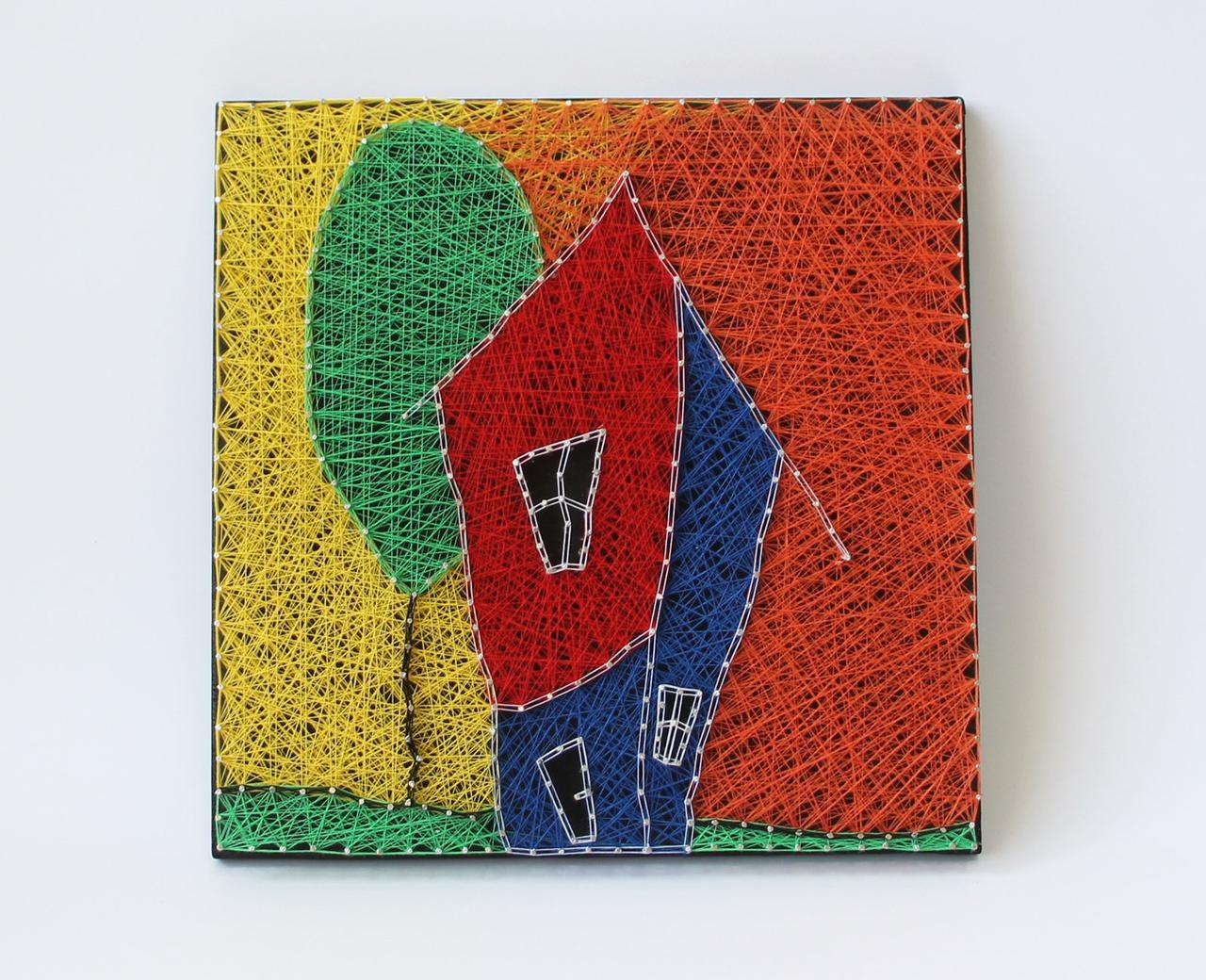 Будинок щасливих людей пано в техніці стрінг-арт String Art