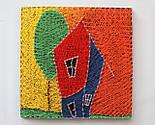 Будинок щасливих людей пано в техніці стрінг-арт String Art, фото 6