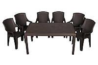 Комплект садовой мебели стол Prince + 6 кресел пластик Eden Коричневый (ОСТ-ФРАН ТМ)