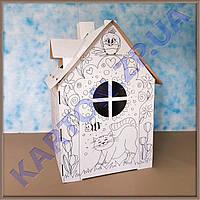 Детский картонный домик с рисунком Котика