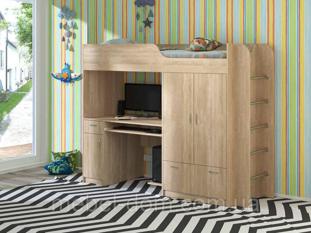 Кровать-чердак Дуэт-1, кровать со шкафом и столом