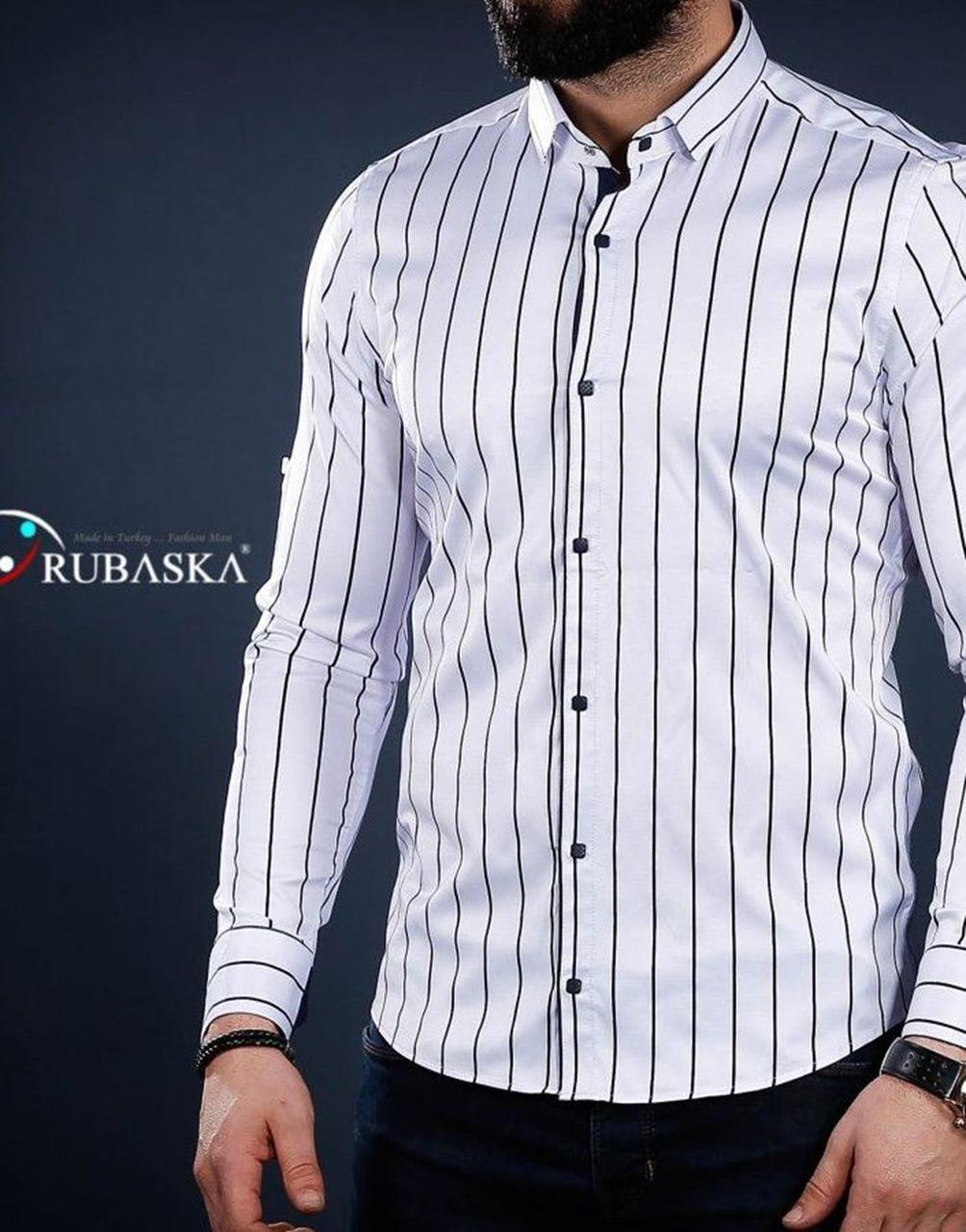 Белая мужская рубашка в полоску