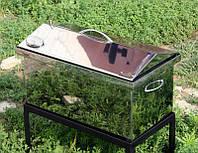 Коптильня Мала нержавійка + термометр | 1,5 мм | 440х250х260 | жаростійкий