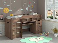 Детская кровать-чердак Легенда со столом, шкафом и комодом