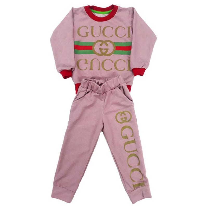 """Костюм для девочек """"Gucci"""" розовый, на 1-5 лет (двухнитка)"""