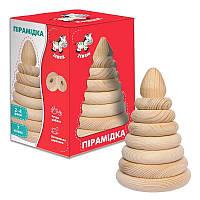 Деревянная Пирамидка ZB1010-02 неокрашенная большая Vladi Toys