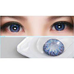Линзы контактные сине-фиолетовые (подходит для темных лаз) + контейнер в ПОДАРОК