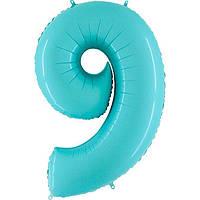 "Шар цифра Фольга ""9"" голубой пастель  (1 метр) флекс металл"