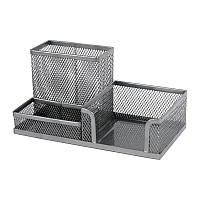 Настольная подставка для канцелярии axent 2116-03-a серебро 20,3x10,5x10 см металлическая