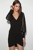 (S / 42-44) Коктейльне приталене чорне плаття з сіточкою Aperoll