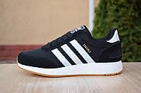 Кроссовки женские Adidas Iniki в стиле Адидас Иники, замша, текстиль код OD-2818. Черные с белым