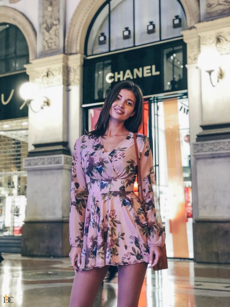 Платье с  отрезным лифом, широким поясом, цветочный принт, шифон. Размер:С,М. Разные цвета (Р 2463)