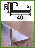 Уголок алюминиевый 40х20х2 разнополочный разносторонний