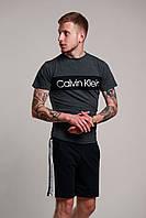 Футболка мужская летняя стильная Calvin Klein, цвет темно-серый, фото 1