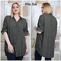 b298d6492e3 Женская клетчатая рубашка в больших размерах 54-64 удлиненная