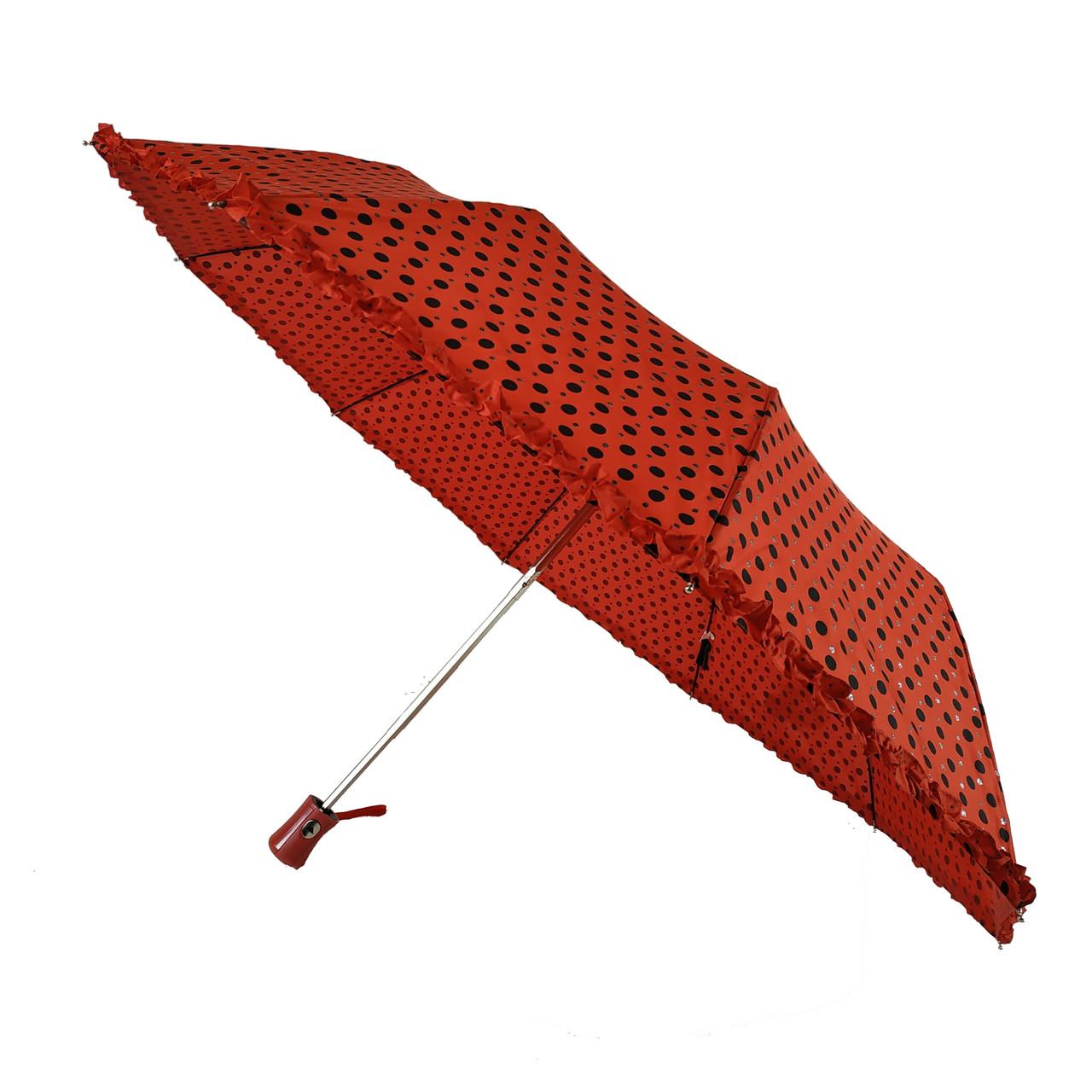 Женский зонт полуавтомат в горошек с рюшей SL, красный, 33057-1
