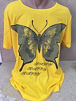 Женская футболка батал в ассортименте по цветам