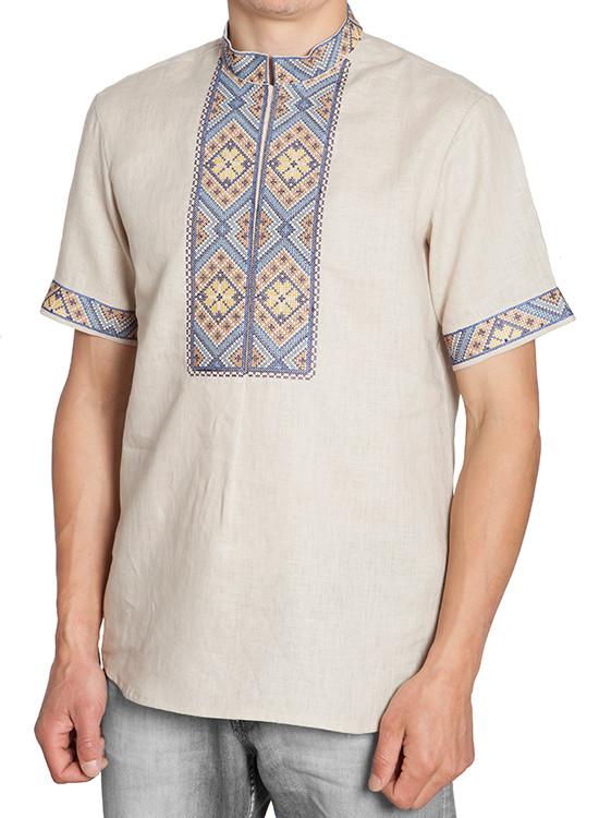 Мужская вышитая рубашка с коротким рукавом (размеры S-3XL)