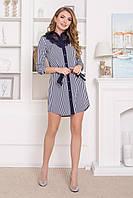 Стильное платье рубашка мини полуоблегающее рукав три четверти полоска синего цвета
