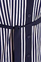 Стильное платье рубашка мини полуоблегающее рукав три четверти полоска синего цвета, фото 3