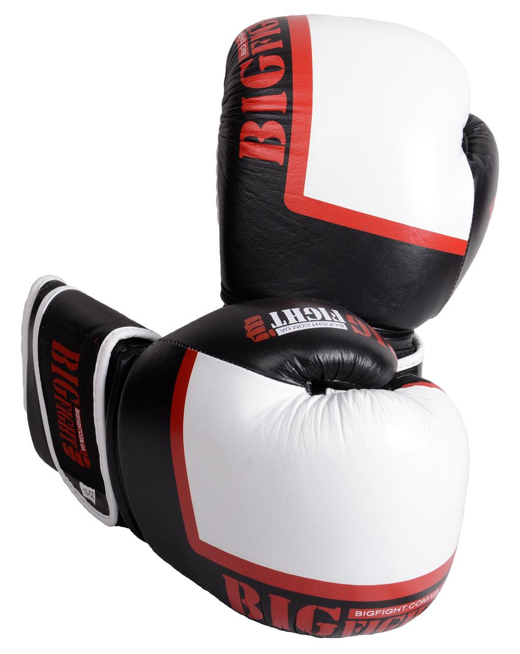 Боксерські рукавички Bigfight PU 12 унцій, чорно-білі